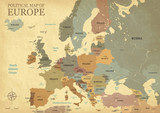 Map of Europe with capitals - Vintage texture - English/US language - Vector CMYK