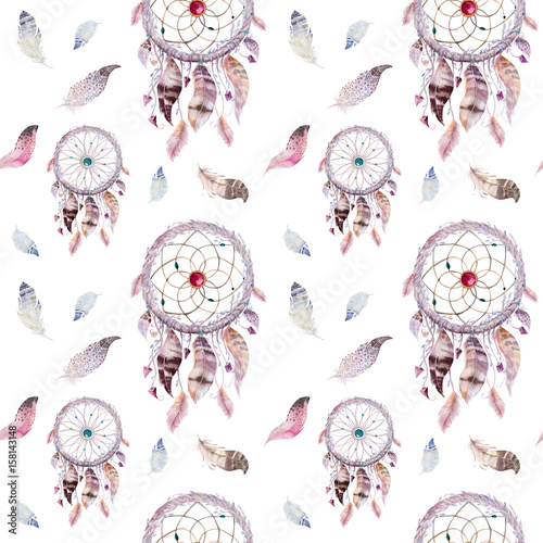 Dreamcatcher and feather pattern. Watercolor bohemian decoration - 158143148