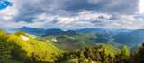 Panorama of amazing spring mountainous landscape