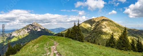 Panoramic view of two typical hills from Little Fatra hills - 158152923
