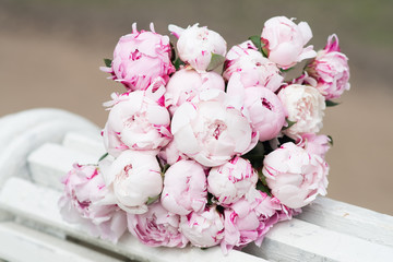 White and pink peony. Bouquet, valentine