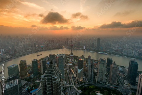 Shanghai skyline city scape, Shanghai luajiazui finance and business district trade zone skyline, Shanghai China
