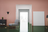 Pink and green living room, armchair