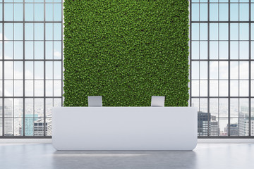 Green wall reception counter