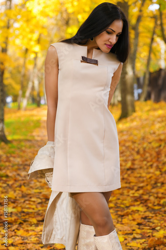 beautiful brunette in fashion dress on background of autumn park Poster