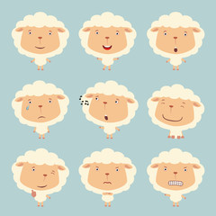 Set funny sheep in different poses. Collection isolated sheep in cartoon style for design children holiday and goods.