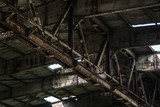 Part of old abandoned rusty building, dark creepy warehouse, dirty and broken