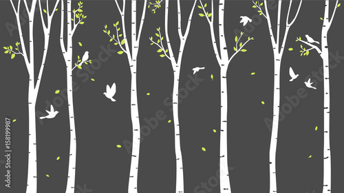 Birch Tree with deer and birds Silhouette Background - 158199987