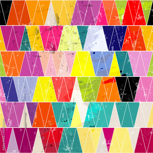 Aluminium Abstract met Penseelstreken seamless pattern background, with triangles, strokes and splashes