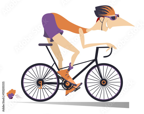 Cartoon man rides a bike isolated. Smiling man rides a bike and looks healthy and happy