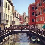 Venice canal boat bridge sunny day - 158206134