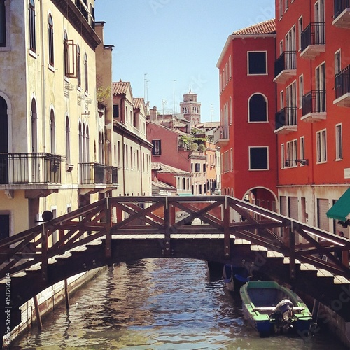 Aluminium Venice Venice canal boat bridge sunny day