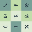 Vector Illustration Set Of Simple Automobile Icons. Elements Servicing, Spanner, Side Mirror And Other Synonyms Spanner, Jeep And Screwdriver.