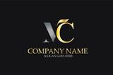 MC Letter Logo Design in Golden and Metal Color - 158211173