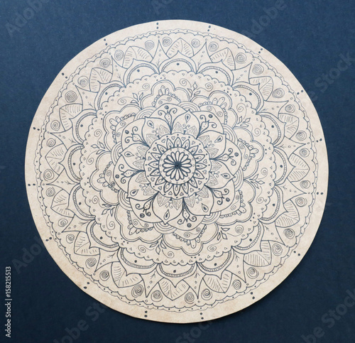 Ornamental flower mandala hand painted Poster