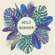 summer tropical background with tropical leaves and exotic plant.