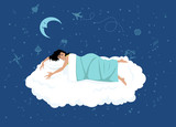 happy woman sleeping on a cloud, night sky with dreamy symbols on the background, EPS 8 vector illustration, no transparencies - 158225378