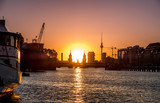 Berlin skyline - Oberbaum Bridge, Tv Tower ,river Spree and sunset sky