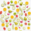 Vegetables and fruits on a white background. Pattern of vegetables and fruits. Abstract food background. Collage of food. Top view. Composition of pears, green peppers, cucumbers, green radish, tomato - 158248148