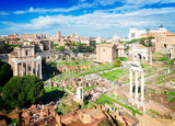 Forum - Rome cityscape with famous antique ruins, Italy, retro toned