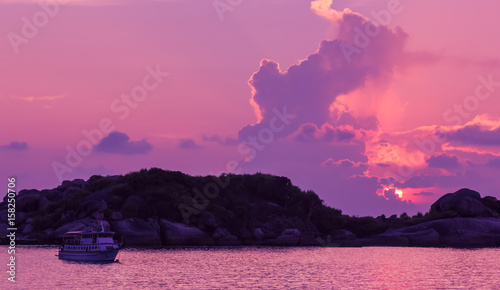 Fotobehang Candy roze Landscape of sunset with dramatic sky on background and rock mountain.