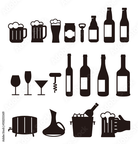Fototapeta beer and wine drink icon set, vector illustration