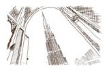 Hand drawn sketch of Burj Khalifa Dubai in Vector illustration.