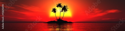 Fotobehang Rood Beautiful island in the ocean at sunset of the day with three palm trees, sunset at the sea, 3d rendering