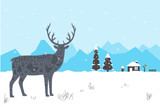 reindeer, winter, Christmas with snow, tree and house