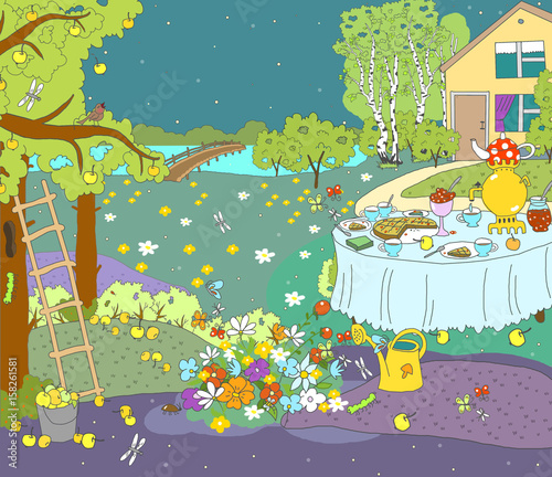 Illustration for children. Autumn Summer night picture, outside the city, in the country, in nature.Apple tree with apples, stairs, house. Dark sky with stars, silhouette of a house, trees.