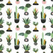 Cotton fabric Hand drawn tropical house plants. Scandinavian style illustration, seamless pattern for fabric, wallpaper or wrap paper. Vector design flowers.