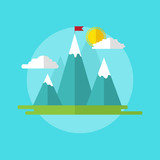 Leadership concept illustration landscape with red flag on the mountain peak. Abstract flat icon. Brochure title page template.