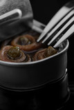 Anchovy rolls with capers in olive oil in tin. Close up - 158275951