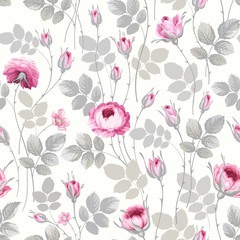 seamless floral pattern with roses in pastel colors