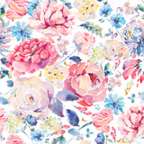 Watercolor seamless pattern with hrysanthemums, roses - 158281746