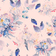 Floral watercolor seamless pattern with chrysanthemums
