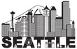 Seattle City Skyline and Text Black and White vector Illustration