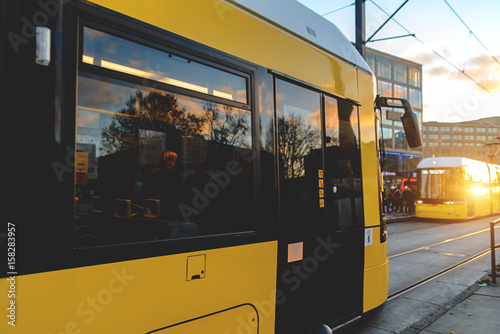 Yellow tram on the streets of Berlin Poster
