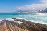 Landscape view of Rio de Janeiro with the Arpoador and Ipanema beach, Brazil