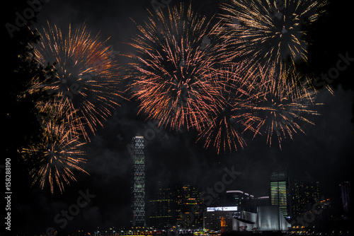 Fireworks over Hong Kong during the Mid-Autumn festival Poster