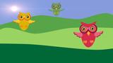 Three owls flying. Cute birds in cartoon style with flat design.