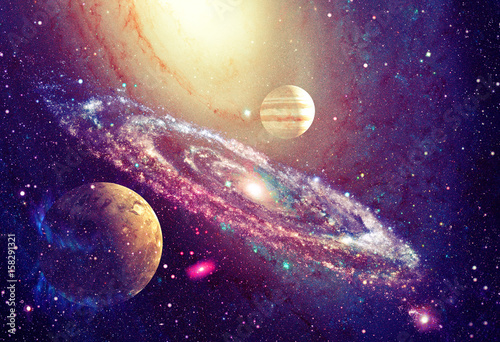 Plexiglas Heelal Spiral galaxy and planet in outer space
