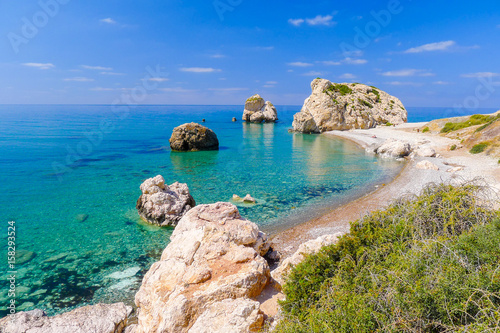 Staande foto Cyprus Rock of Aphrodite, beautiful beach and sea bay, Cyprus island