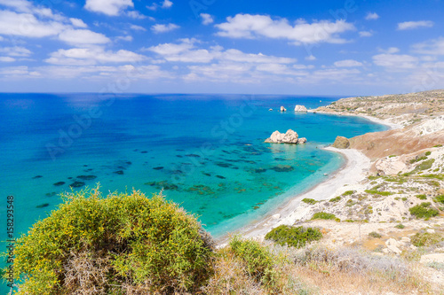 Fotobehang Cyprus Rock of Aphrodite, beautiful beach and sea bay, Cyprus island