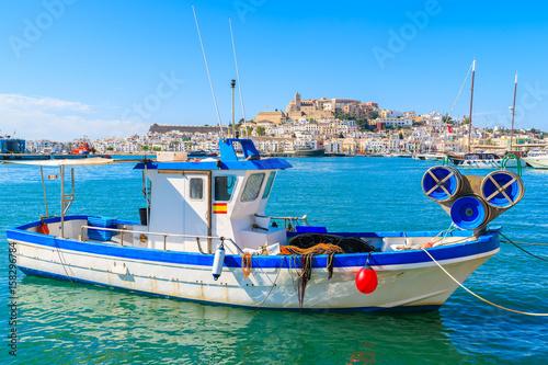 Aluminium Fishing boat in Ibiza (Eivissa) port on Ibiza island, Spain