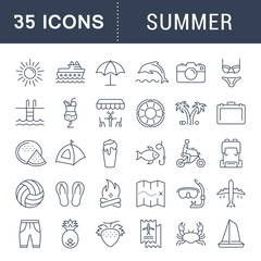 Set Vector Flat Line Icons Summer
