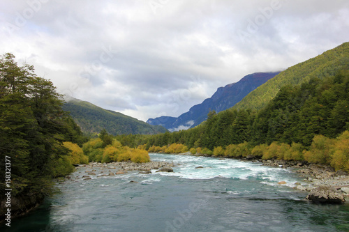 River Futaleufu flowing, well known for white water rafting, Patagonia, southern Chile Poster