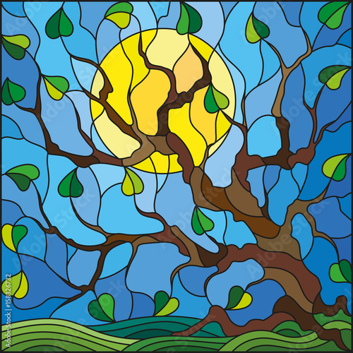 illustration-in-stained-glass-style-with-tree-on-sky-background-and-sun