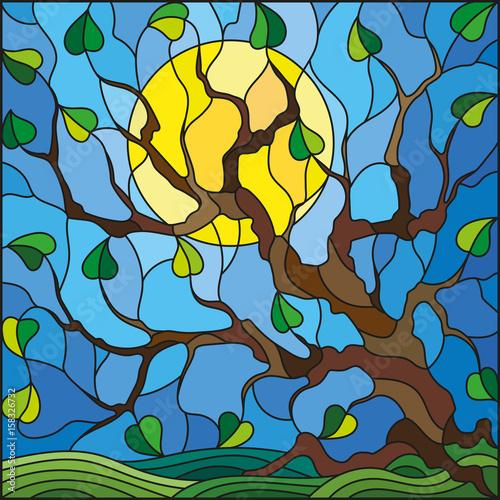 ilustracja-w-witrazu-stylu-z-drzewem-na-nieba-sloncu-i-tle