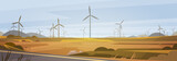 Wind Turbine Energy Renewable Station Nature Background Flat Vector Illustration